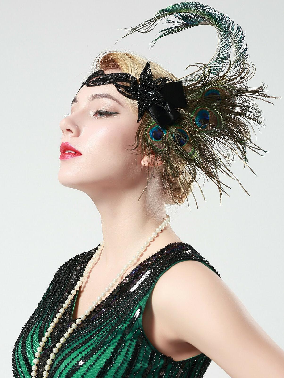 BABEYOND Feather Headband 20s Sequined Showgirl