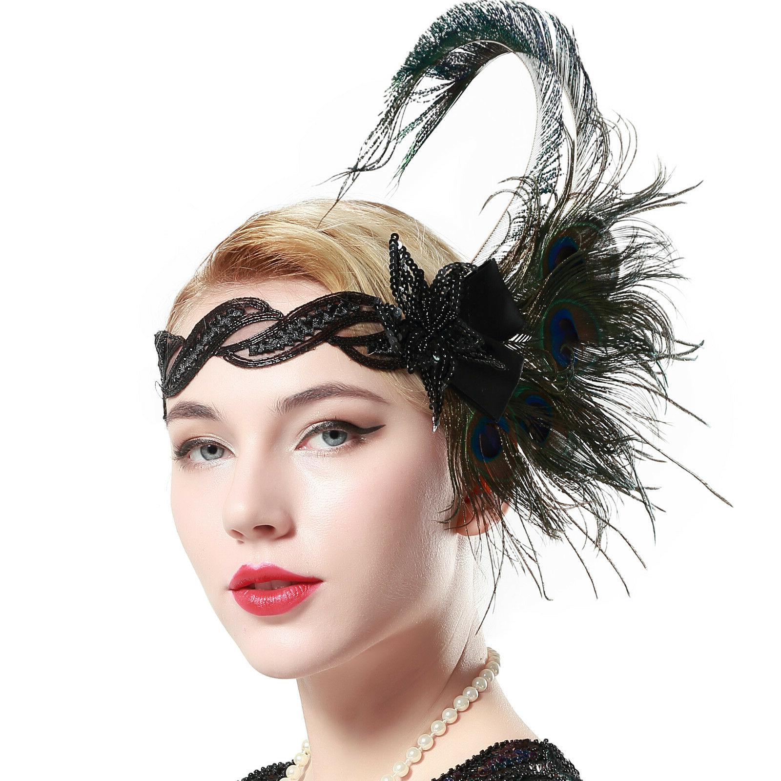 1920s flapper peacock feather headband 20s sequined