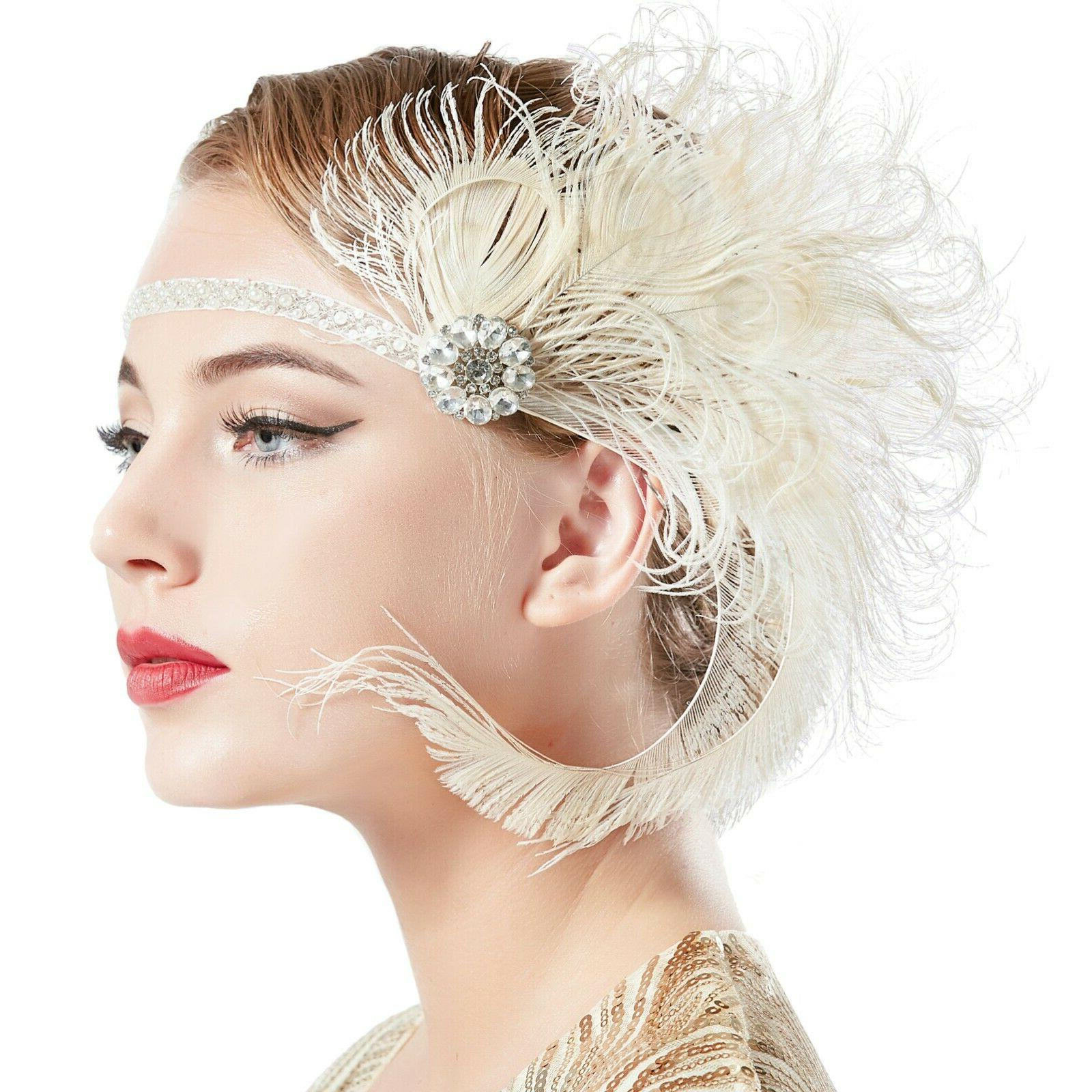 BABEYOND Flapper Feather Gatsby Hair Accessories