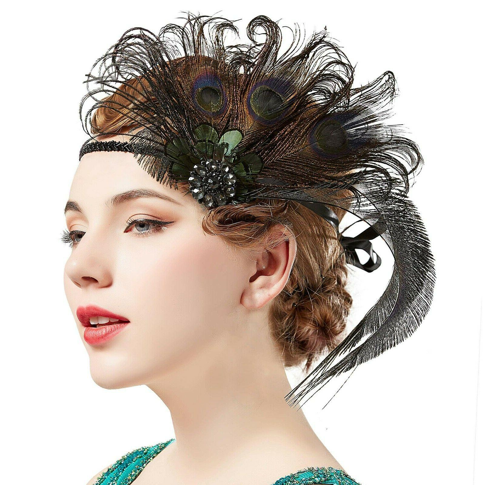 BABEYOND 1920s Feather Great Hair Accessories