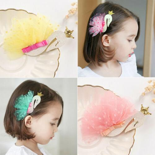 1pc hair clip sequin princess crown swan