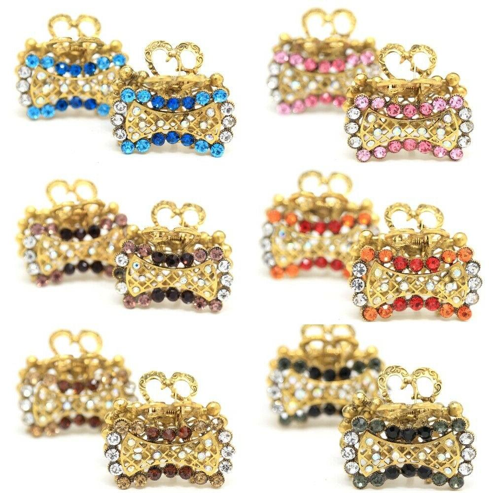 2 pieces rectangle metal hair claw clip
