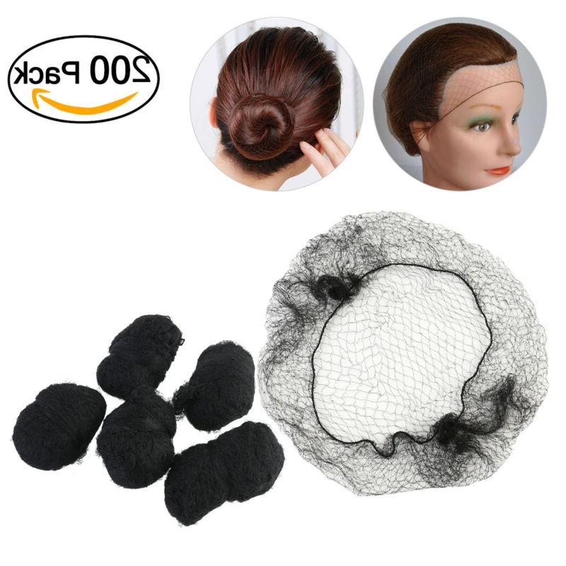 200set black hair nets invisible elastic edge