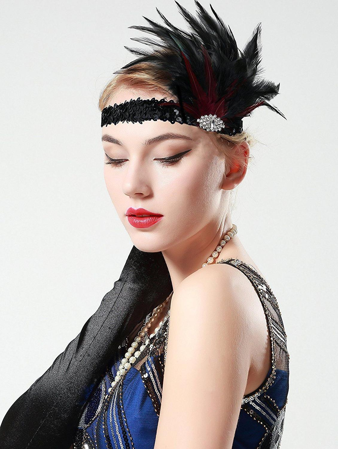 BABEYOND 20s Roaring 20s Feather Crystal