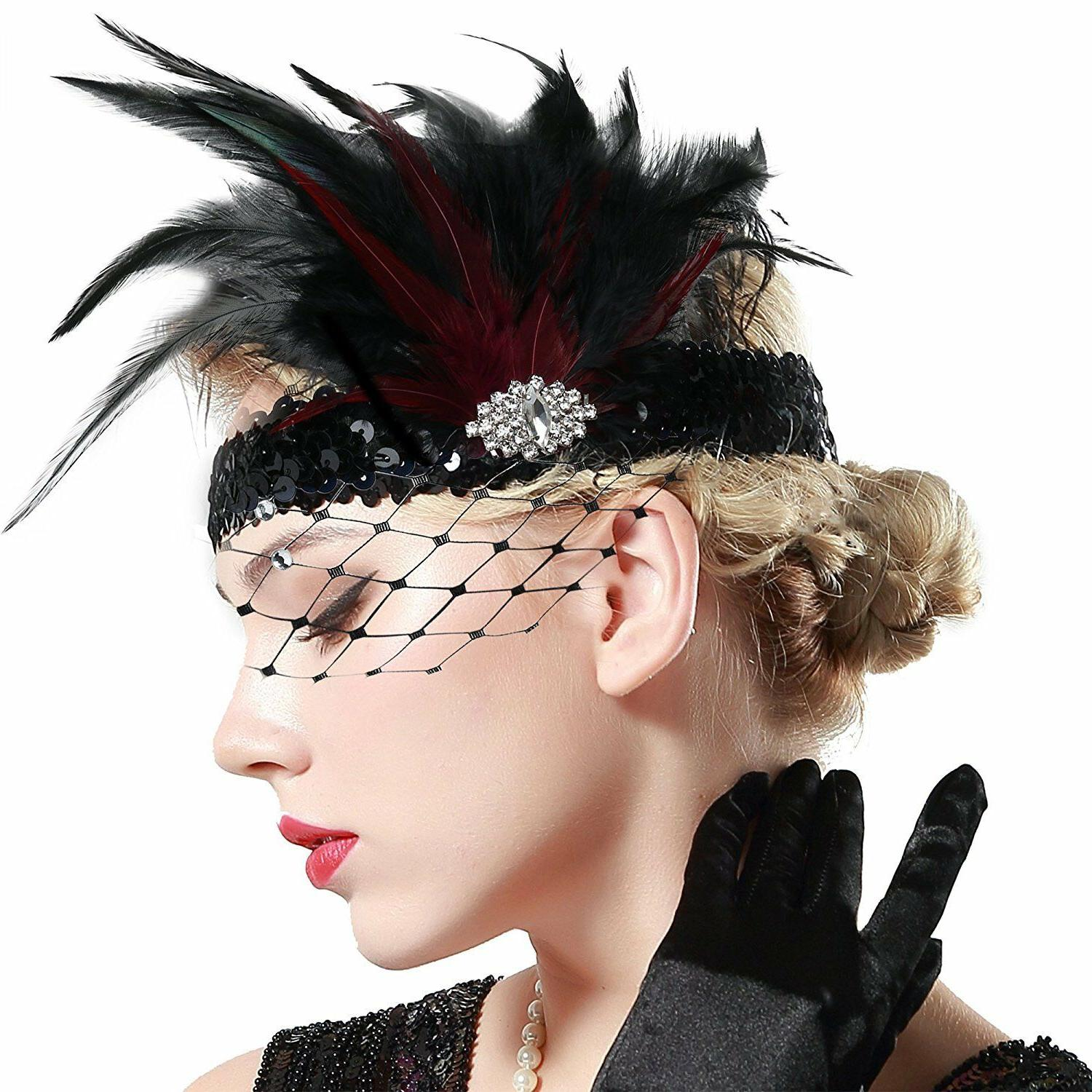 BABEYOND 20s Flapper Roaring 20s Feather Crystal Great Gatsby