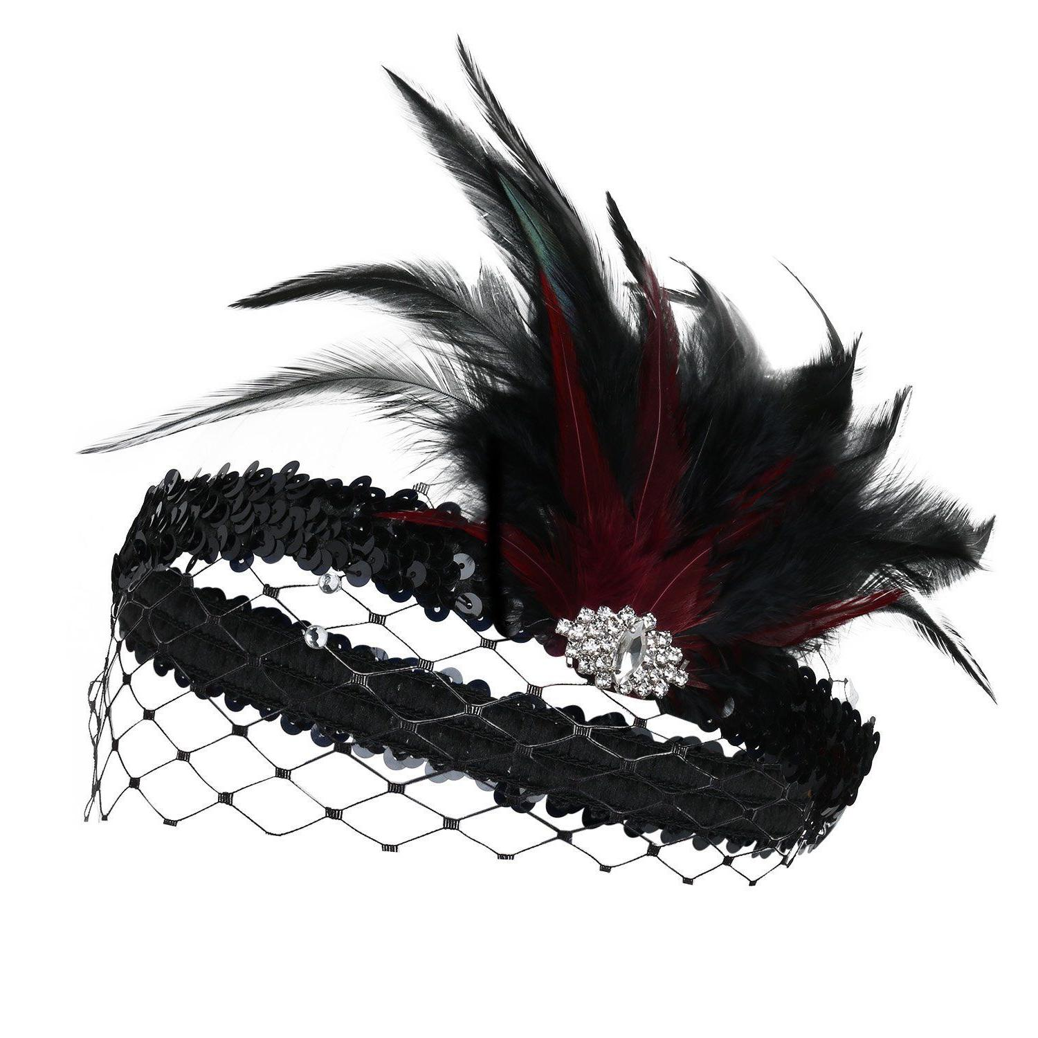BABEYOND 20s Flapper Headband Roaring Crystal