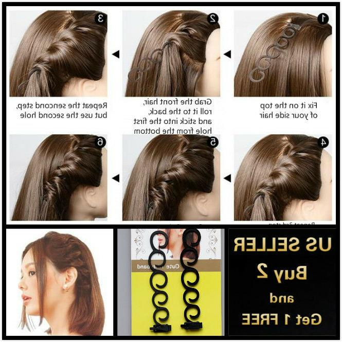 2pcs side hair styling french braid clip