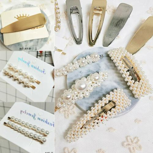 Women Pearl Leaf Hair Clip Comb Bobby