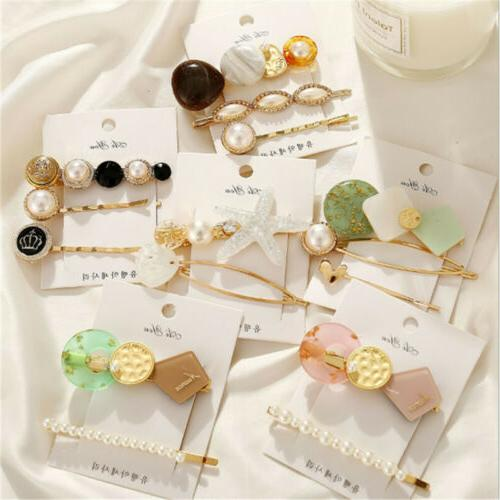 3Pcs Women Hair Clips Barrette Stick