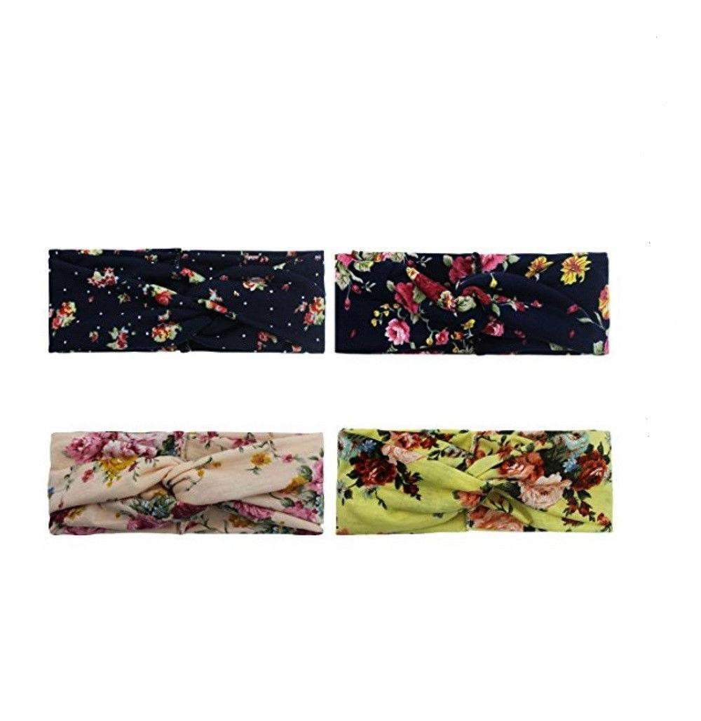 4 Pack Flower Printed Wrap Band