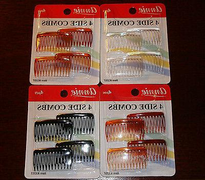 4 PCS 4 SIDE COMBS HAIR ACCESSORIES CLEAR/BLACK/TORTOISE BRO