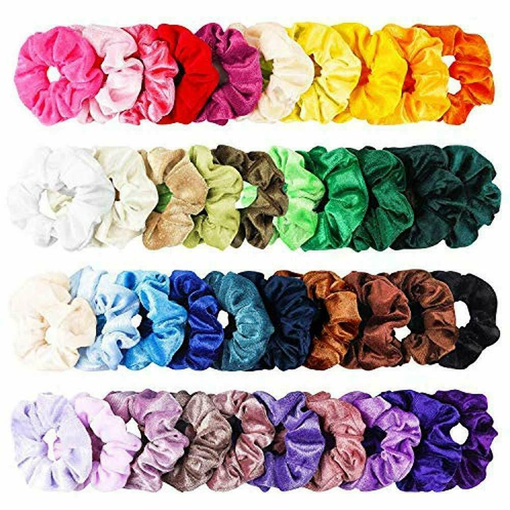 40pcs colorful velvet hair scrunchies set elastic