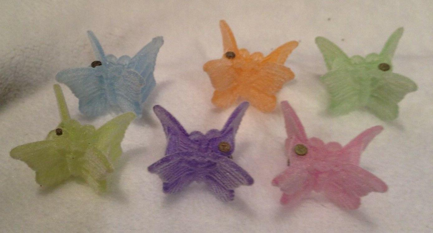 48 Pastel Fuzzy Mixed Mini Plastic Butterfly Hair