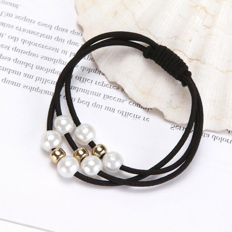 5 Pcs Pearl Hair Band Ropes Ring Ponytail Holder Accessories