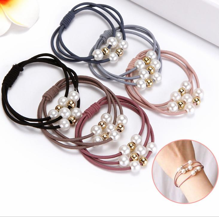 5 Pcs Pearl Elastic Hair Ropes Ring Ponytail Holder Accessories