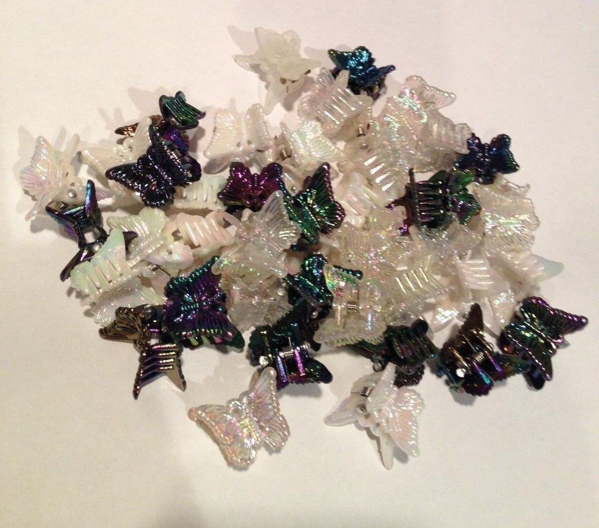 50 White Clear Plastic Butterfly Hair