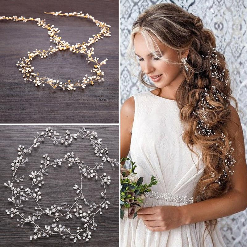 "59"" Long Wedding Hair Vine Crystal Pearl Headband Bridal Acc"
