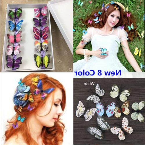 5x butterfly hair clips bridal hair accessories