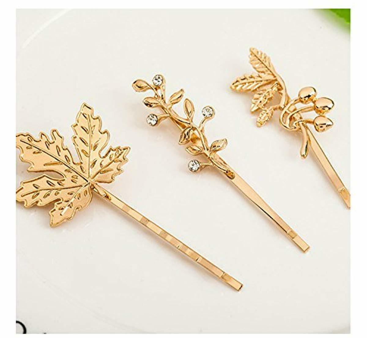 QTMY 6 Feather Leaves Hairpin Clips Hair