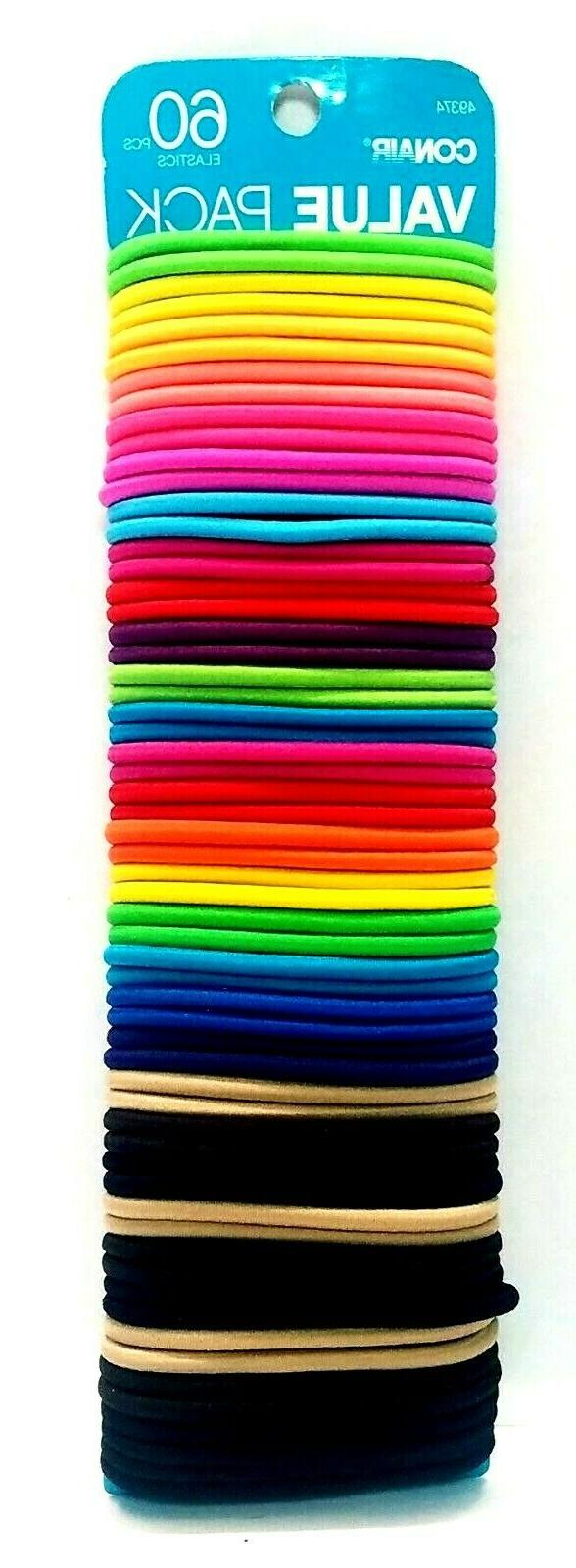 60 piece elastic ponytail hair ties metal