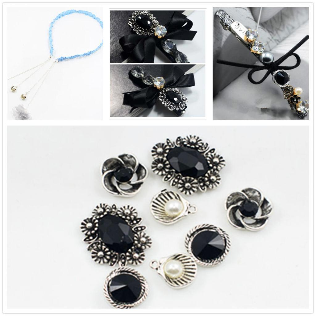 8 pieces metal black crystal pendant charms