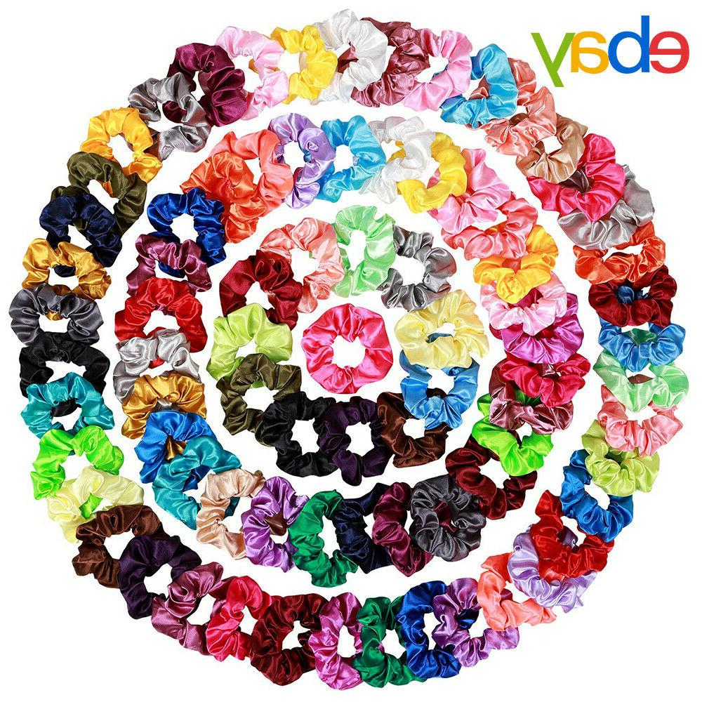 80 Pcs Silk Satin Hair Scrunchies Elastic Bobbles Bands Ponytail