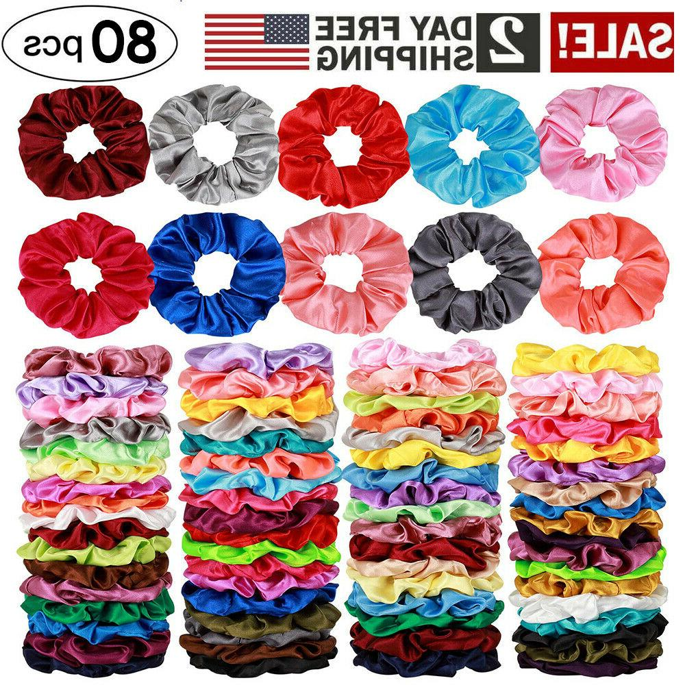 80 Silk Hair Scrunchies Hair Bobbles Ponytail Ties Gift