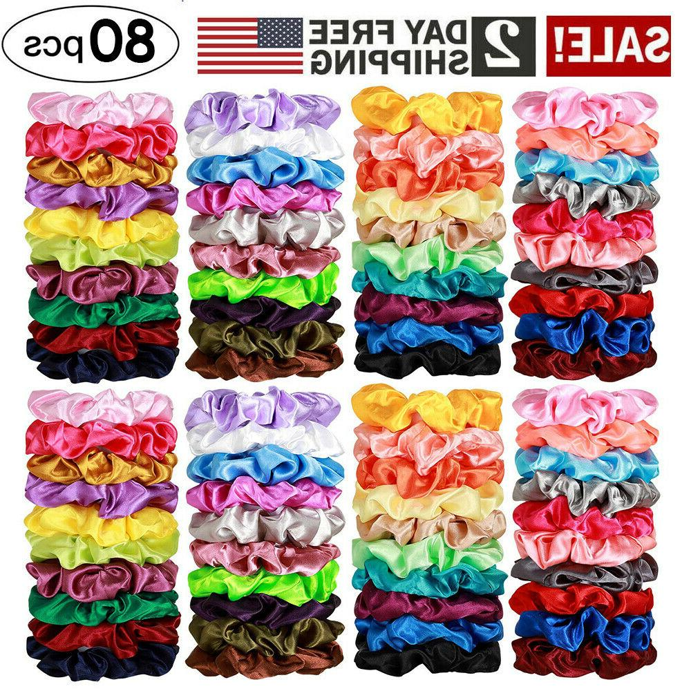 80 pcs silk satin hair scrunchies elastic