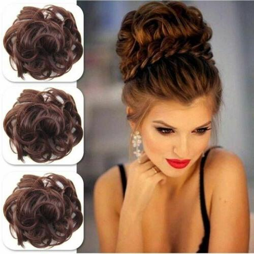 As Real Natural Curly Messy Hair Piece Scrunchie Hair US