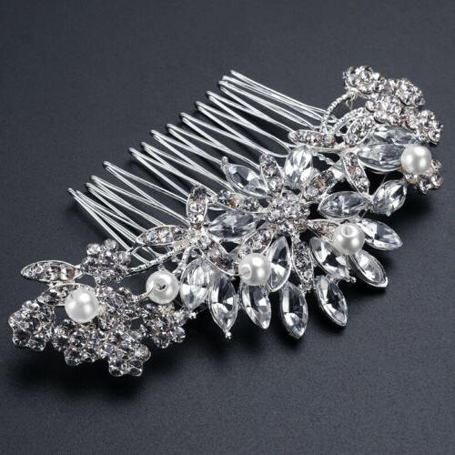 Bridal Hair Comb Crystal Headpiece Silver 3