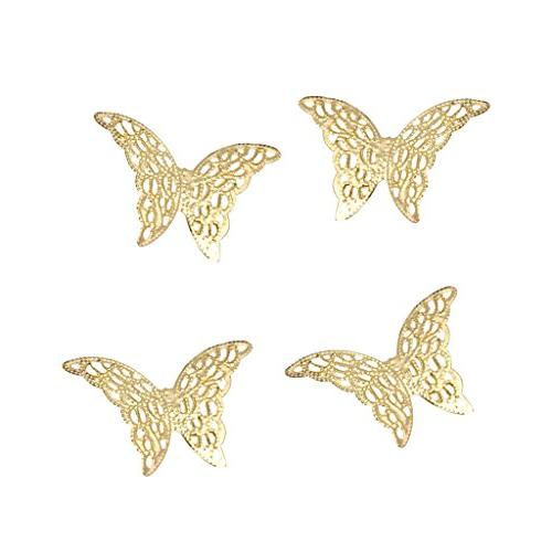 Homyl 50 Butterfly Charms Pendants Laminate Decoration for Bridal Headdress, Hairpin,Hair Gold