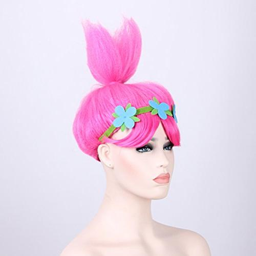 Pink Trolls Wigs Party Head Women and