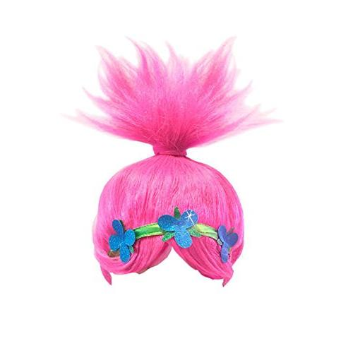Pink Trolls Costume Wigs Cosplay Party Head Accessories Women and Girls