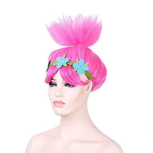characters cosplay wigs pink trolls