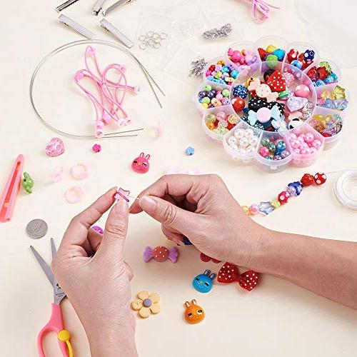 Beadthoven Children Hair Accessories Crafting Beads Sets Beads Hair Bowknots Jewelry Findings for Kids DIY Crafts Supplies Christmas