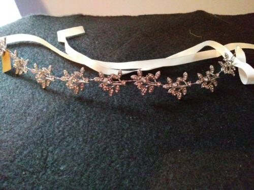 Babeyond Crystal Bridal Hair Accessories with Ivory Satin Ribbon