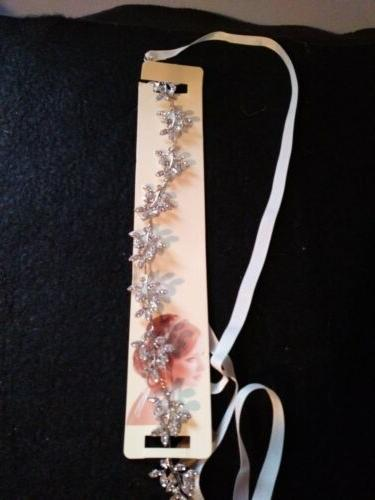 Babeyond Crystal Accessories with Ivory Satin Ribbon