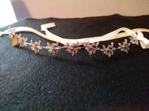 crystal bridal hair accessories with ivory satin