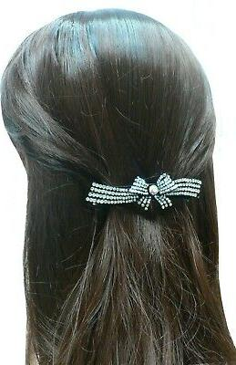 Bella Crystal Ribbon Hairbow Clip for Women Girls