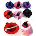 EP_ Women Girl Mini Feather Rose Top Hat Cap Lace fascinator