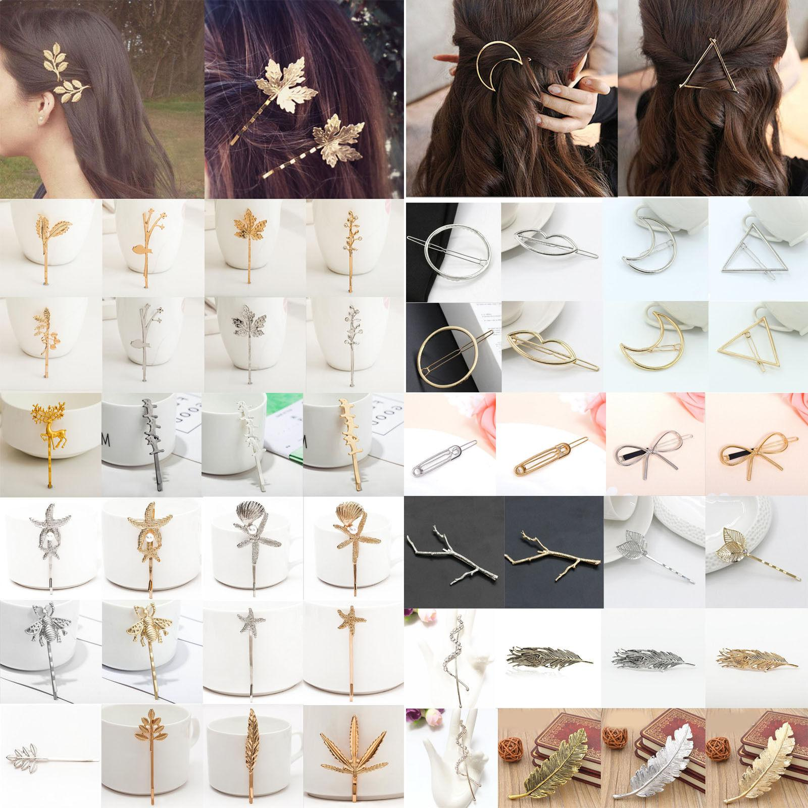 fashion women gold silver geometry triangle hairpin