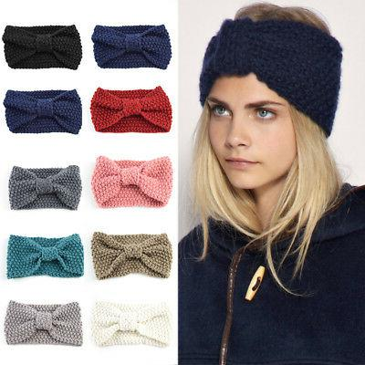 Fashion Womens Knit Crochet Bow Turban Headband Hair