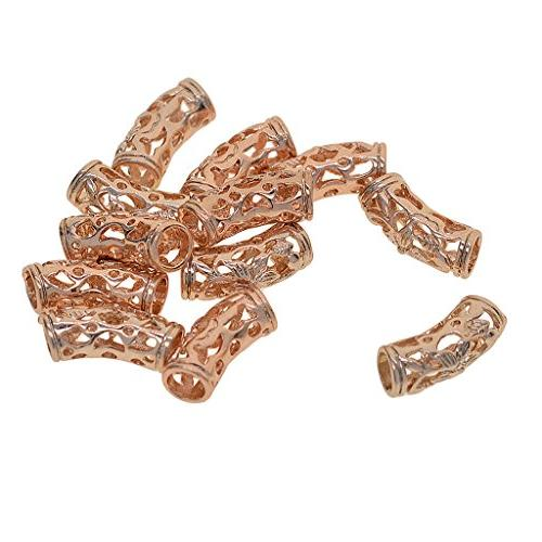 Fityle 12 Filigree Carve Tube Charm Beads Fit Necklace DIY Jewelry Making Rose