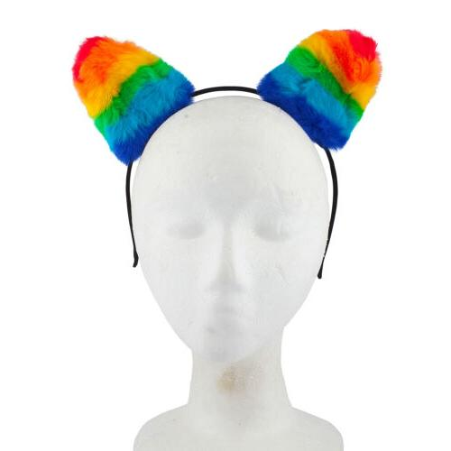 Lux Gay Rainbow Ear Kitty Headband