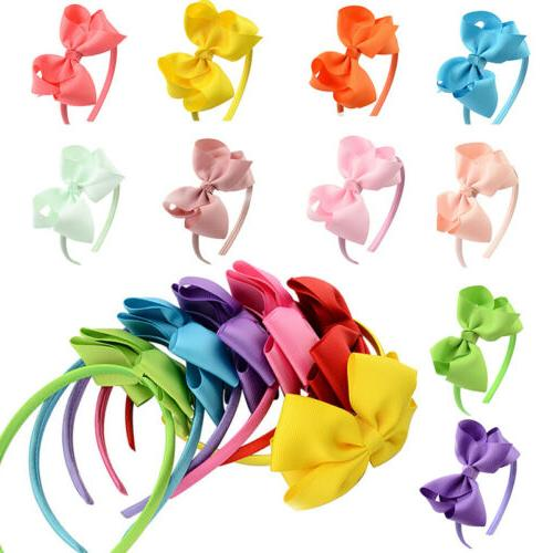 girls kids hair hoop band solid bow