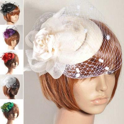 HANDMADE WOMENS LADY HAIR CLIP ACCESSORY FASCINATOR VEIL PIL