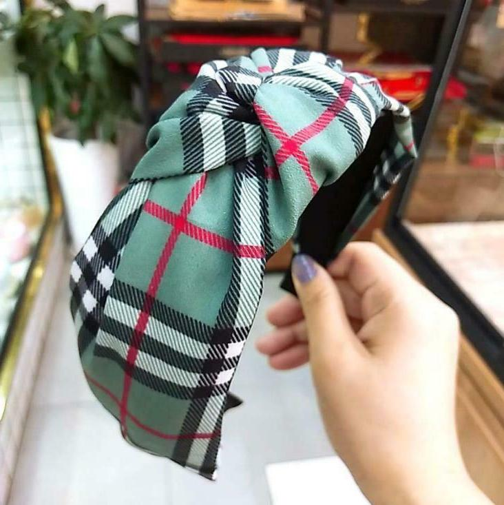 Headband Turban Plaid