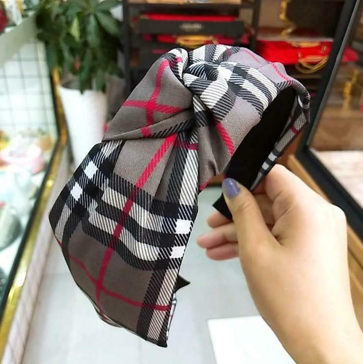 Headband Women Fashion Turban Hair Plaid