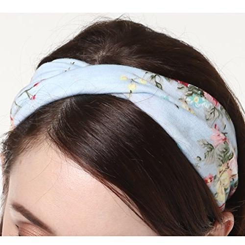 DRESHOW 4 Vintage Elastic Printed Head Wrap Stretchy Moisture Style Women