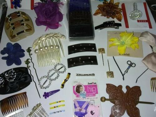 Huge Mixed Hair Combs Barrettes Flowers